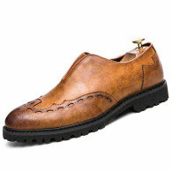 Brown V style leather brogue slip on dress shoe 01