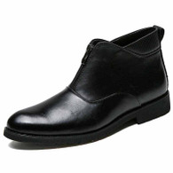 Black retro front zip slip on leather shoe boot 01