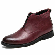 Red retro front zip slip on leather shoe boot 01