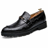 Black retro chain buckle leather slip on dress shoe 01
