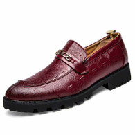 Red retro chain buckle leather slip on dress shoe 01