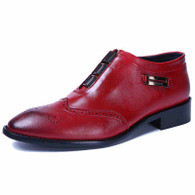 Red retro brogue buckle leather slip on dress shoe 01