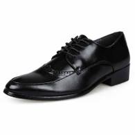 Black retro brogue leather derby dress shoe 01
