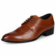 Brown retro brogue leather derby dress shoe 01