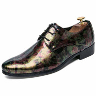 Golden camouflage patent leather derby dress shoe 01
