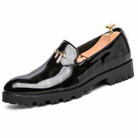 Black metal decor patent leather slip on dress shoe 01