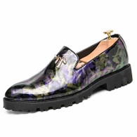 Purple camouflage patent leather slip on dress shoe 01