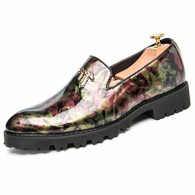 Red camouflage patent leather slip on dress shoe 01