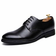Black plain retro leather derby dress shoe 01