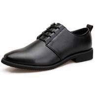Black simple plain urban leather dress shoe 01
