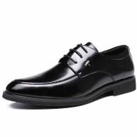 Black urban leather derby dress shoe 01