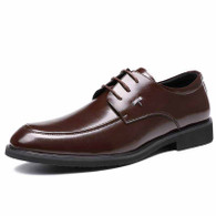 Brown urban leather derby dress shoe 01