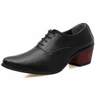 Black leather Oxford heel dress shoe 01