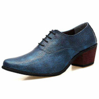 Blue leather Oxford heel dress shoe 01