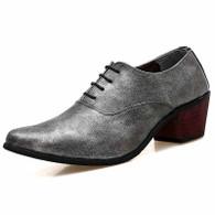 Silver leather Oxford heel dress shoe 01