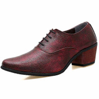 Red leather Oxford heel dress shoe 01