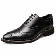 Black brogue leather Oxford dress shoe 01