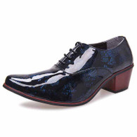 Blue retro camo leather Oxford heel dress shoe 01