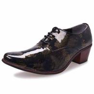 Golden retro camo leather Oxford heel dress shoe 01