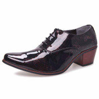 Red retro camo leather Oxford heel dress shoe 01