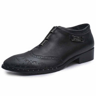Black retro brogue leather slip on dress shoe 01