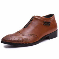 Brown retro brogue leather slip on dress shoe 01