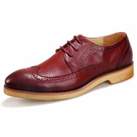 Red retro brogue leather derby dress shoe 01