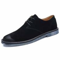 Black retro suede leather derby dress shoe 01