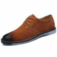 Brown retro suede leather derby dress shoe 01