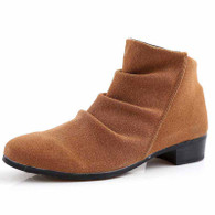 Brown pleated suede leather zip dress shoe boot 01
