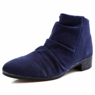 Blue pleated suede leather zip dress shoe boot 01