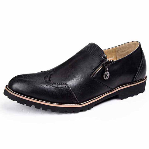 Black retro brogue zip leather slip on dress shoe 01