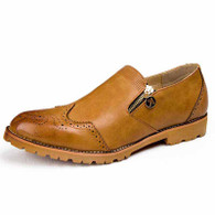 Brown retro brogue zip leather slip on dress shoe 01