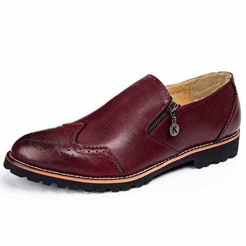 Red retro brogue zip leather slip on dress shoe 01