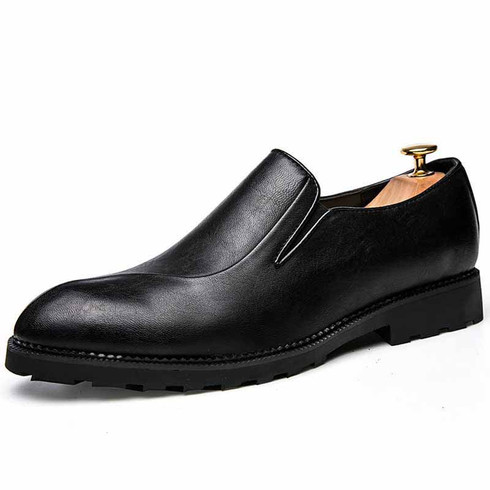 Black retro split style leather slip on dress shoe 01