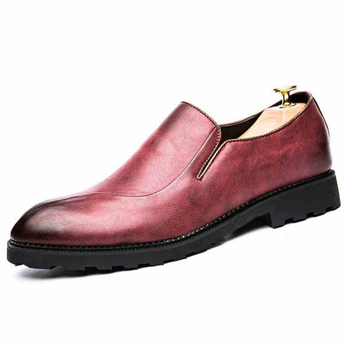 Red retro split style leather slip on dress shoe 01