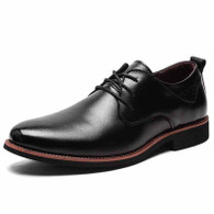 Black plain retro leather derby dress shoe 01