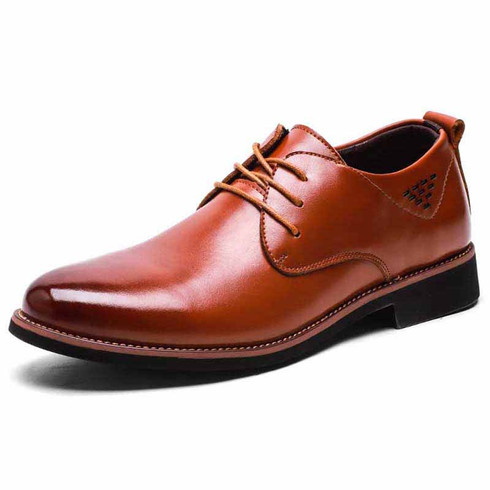 Brown plain retro leather derby dress shoe 01