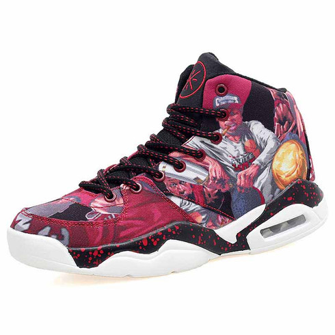Red basketball player pattern sport shoe sneaker 01