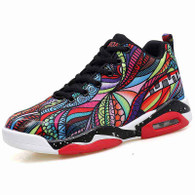 Red color floral pattern sport shoe sneaker 01