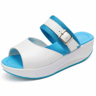 Blue buckle strap slip on rocker bottom shoe sandal 01