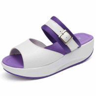 Purple buckle strap slip on rocker bottom shoe sandal 01