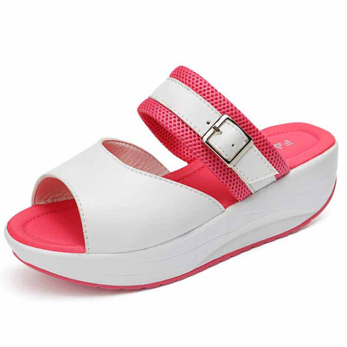 Rose red buckle strap slip on rocker bottom shoe sandal 01