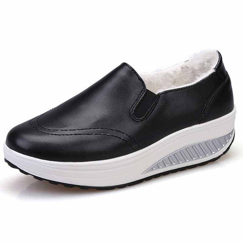 Black simple winter slip on rocker bottom shoe sneaker 01