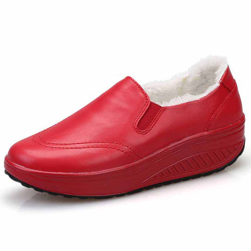 Red simple winter slip on rocker bottom shoe sneaker 01