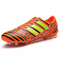 Orange triple stripe label print soccer shoe 01