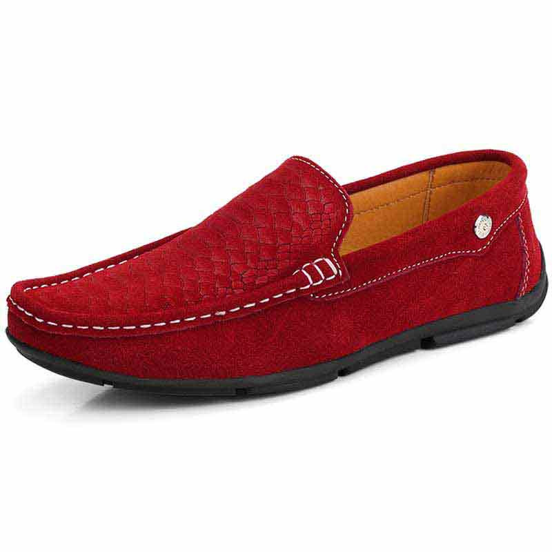 5979aaa4316a3 Red fish scale pattern slip on shoe loafer 01
