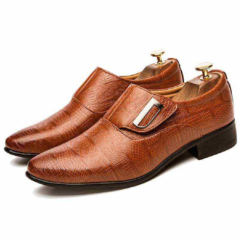 Brown block check velcro leather slip on dress shoe 01
