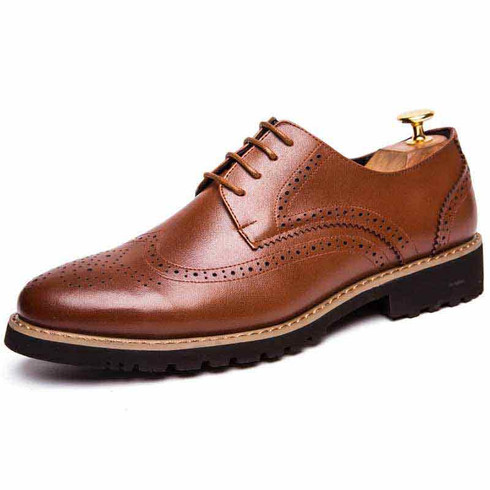 Brown brogue leather derby dress shoe 01