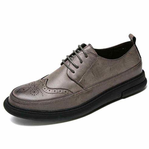 Grey brogue leather derby dress shoe 01